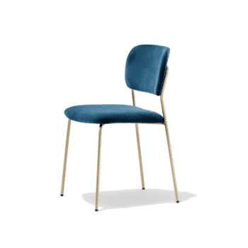 Jazz Side Chair Blue with brass frame DeFrae Contract Furniture