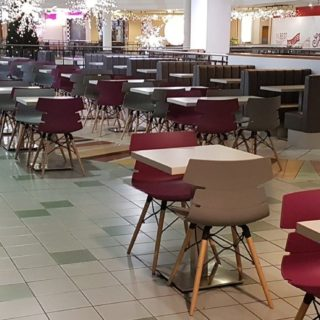 Food court furniture at St Anns Shopping Centre by DeFrae Contract Furniture