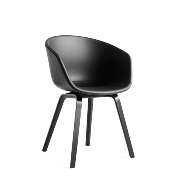 About AAC Armchair at DeFrae Contract Furniture Upholstered Black Faux Leather Seat Wood frame