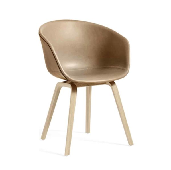 About AAC Armchair at DeFrae Contract Furniture Upholstered Brown Tan Faux Leather Seat Beech Wood frame