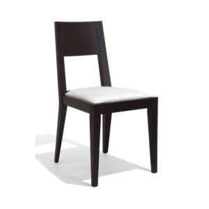 The Alex side chair adds a touch of class to any fine dining or restaurant environment. The frame can be stained to the finish of your choice.
