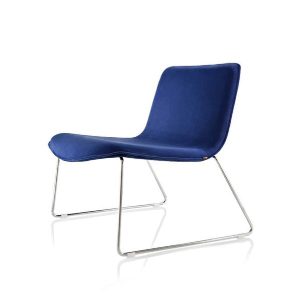 Alma lounge chair amacord blue with sled base DeFrae contract furniture blue
