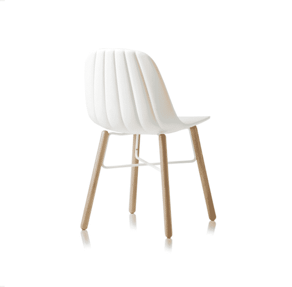 Baba Side Chair Outdoor DeFrae Contract Furniture White Wooden Legs
