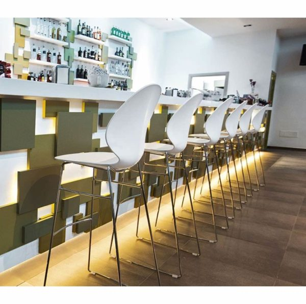 Basil Sled Base Bar Stool Calligaris available from DeFrae Contract Furniture White in situ Bar
