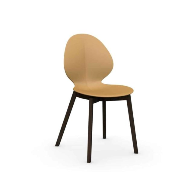 Basil Wood Side Chair Calligaris available from DeFrae Contract Furniture Tan Wenge Frame