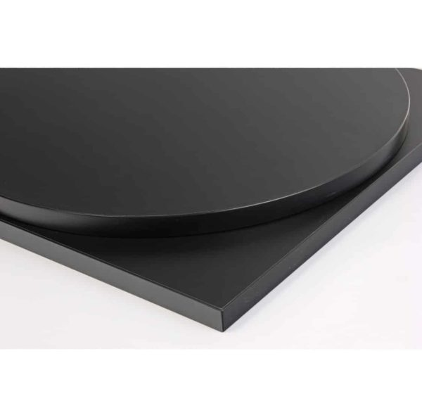 Black premium laminate 25mm table top DeFrae Contract Furniture restaurant bar coffee shop hotel or cafe