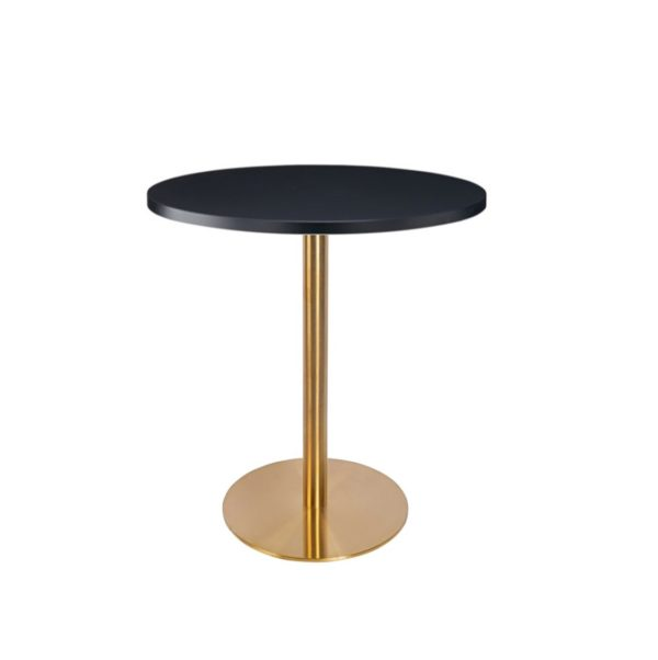 Black premium laminate 25mm table top DeFrae Contract Furniture restaurant bar coffee shop hotel or cafe round zues brass table base
