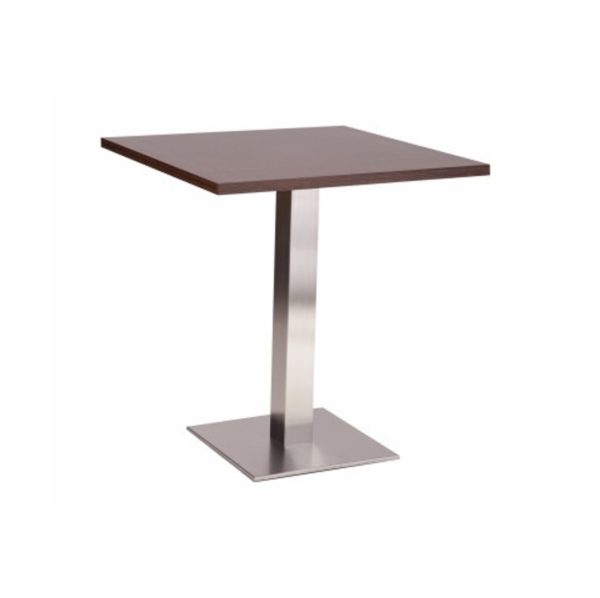 Carlton Stainless Steel Table Base DeFrae Contract Furniture Single Dining Height Wenge Top