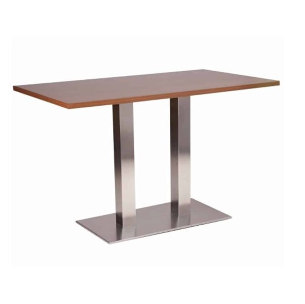 Carlton Stainless Steel Table Base DeFrae Contract Furniture Twin Dining Height Wenge Top