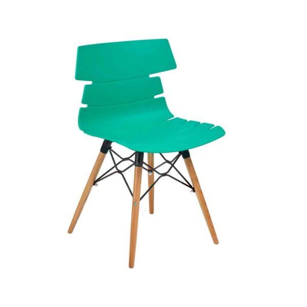 Cavendish Side Chair Wooden Legs DeFrae Contract Furniture Aqua