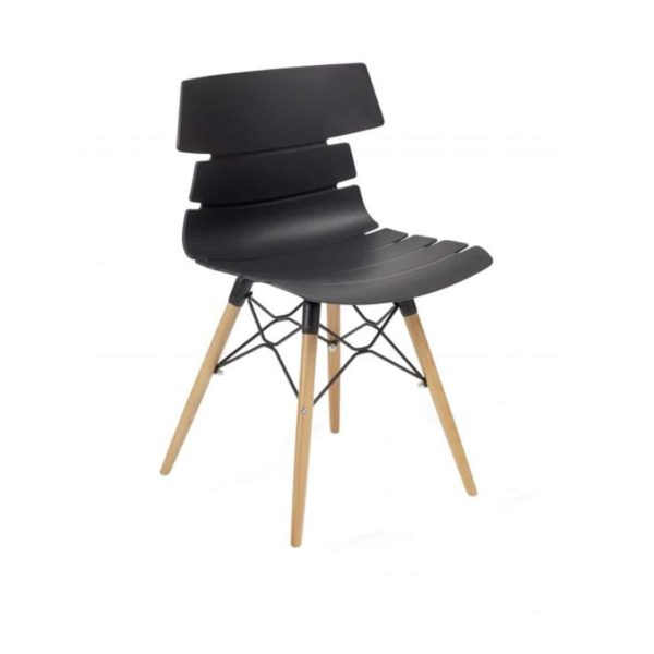 Cavendish Side Chair Wooden Legs DeFrae Contract Furniture Black