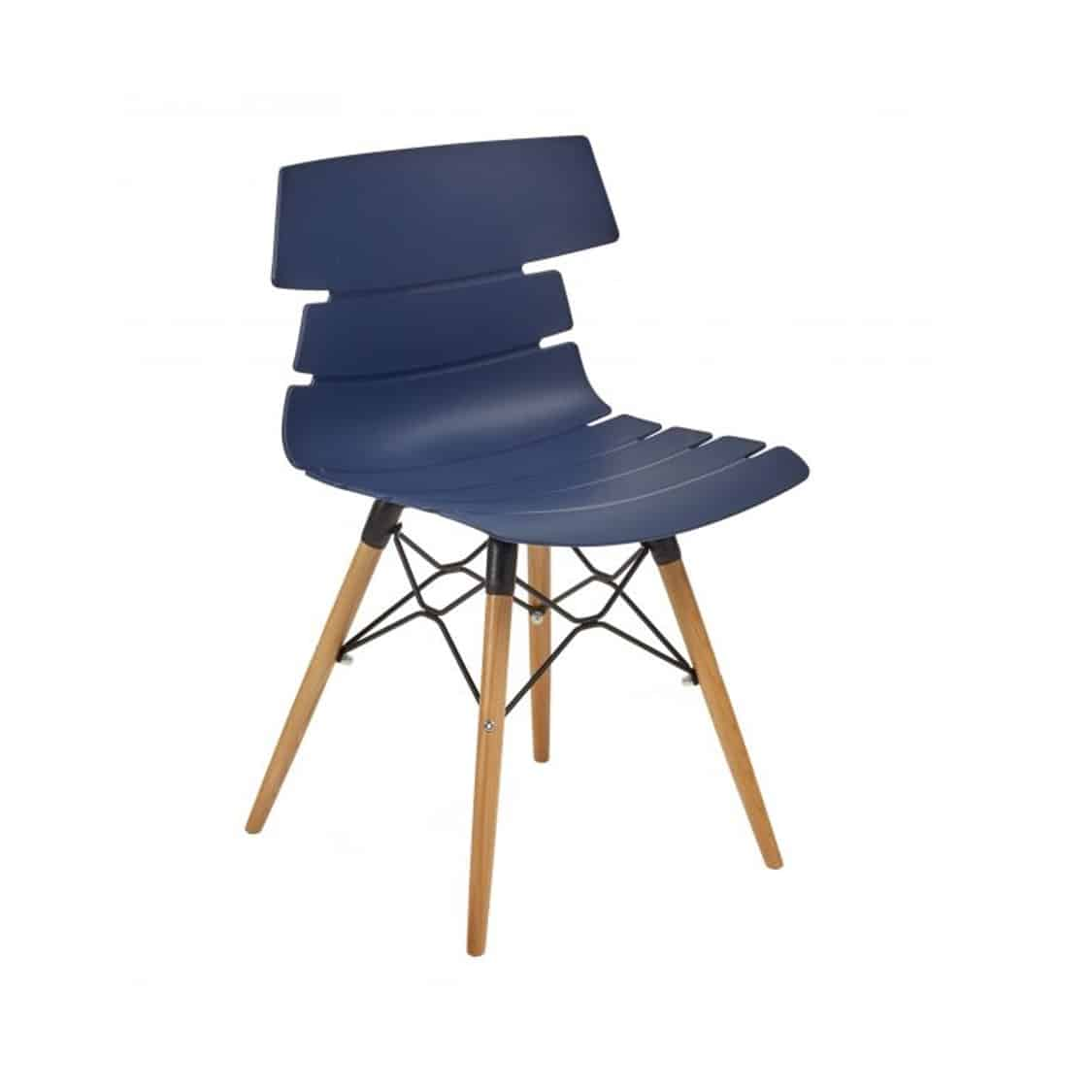Cavendish Side Chair Wooden Legs DeFrae Contract Furniture Blue