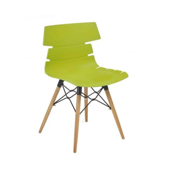 Cavendish Side Chair Wooden Legs DeFrae Contract Furniture Lime Green