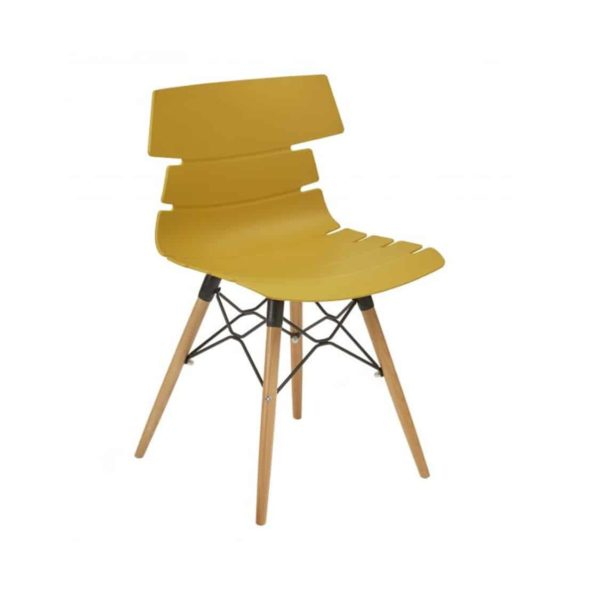 Cavendish Side Chair Wooden Legs DeFrae Contract Furniture Mustard Yellow