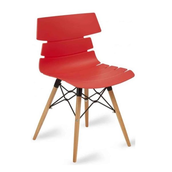 Cavendish Side Chair Wooden Legs DeFrae Contract Furniture Red