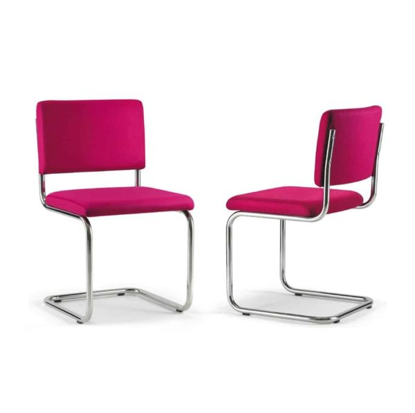 Ceska Side Chair Cantileve Base DeFrae Contract Furniture Pink fabrics
