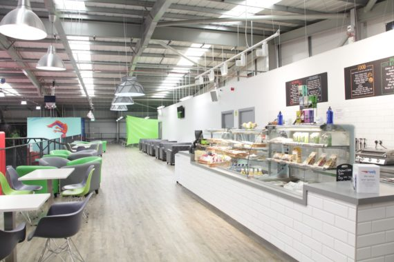 Coffee shop cafe furniture at Rush Trampoline Park by DeFrae Contract Furniture