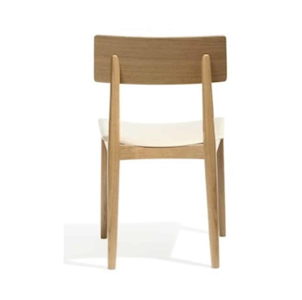 Crack side chair DeFrae Contract Furniture Natural Wood Chair Upholstered Seat Back View