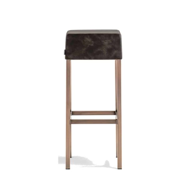 Cube Bar Stool Black Faux Leather With Poilshed Brass Leg Frame Pedrali 4401