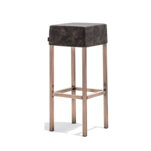 Cube Bar Stool Black Faux Leather With Poilshed Brass Leg Frame Pedrali 4401 Side