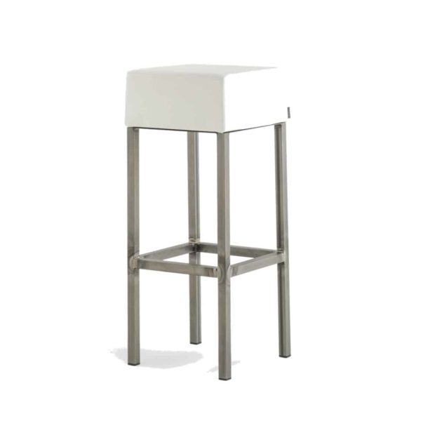Cube Bar Stool White With Poilshed Brass Leg Frame Pedrali 4401