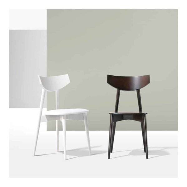 Day Chair Dayana DeFrae Contract Furniture Walnut And White In situ head on