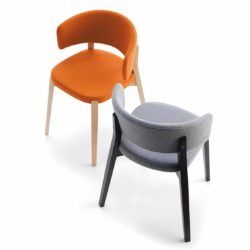Dixie Armchair Curved Back DeFrae Contract Furniture Orange and Grey