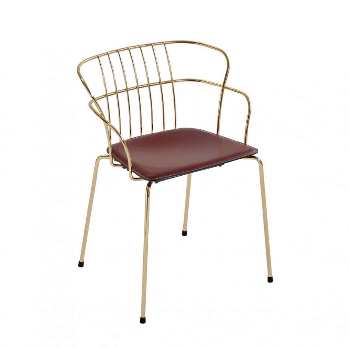 Flint Armchair Et Al available from DeFrae Contract Furniture Upholstered Seat Gold Frame