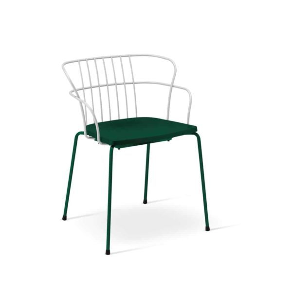Flint Armchair Et Al available from DeFrae Contract Furniture Upholstered Seat two tone white and green