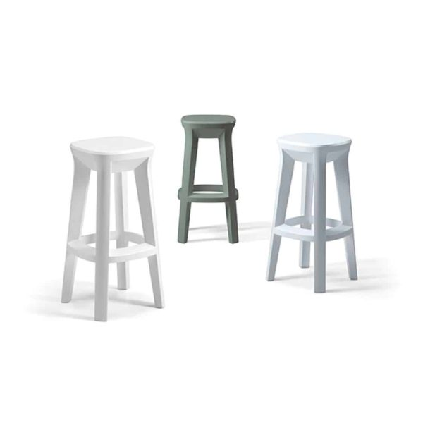 Frozen bar stools outside Plust at DeFrae Contract Furniture Colours