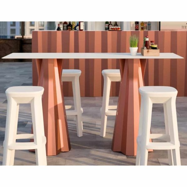 Frozen bar stools outside Plust at DeFrae Contract Furniture White