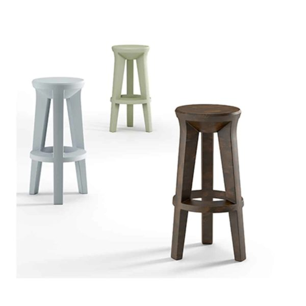 Frozen bar stools outside Plust at DeFrae Contract Furniture round seat