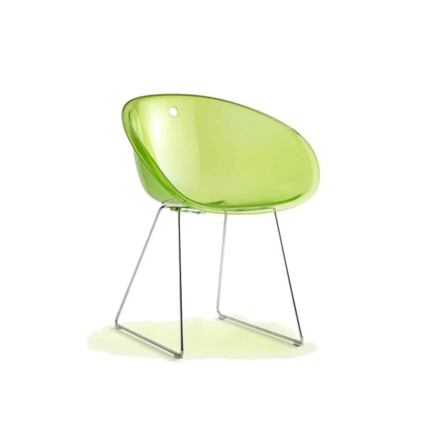 Gliss 921 Armchair Sled Base Pedrali at DeFrae Contract Furniture Lime Translucent