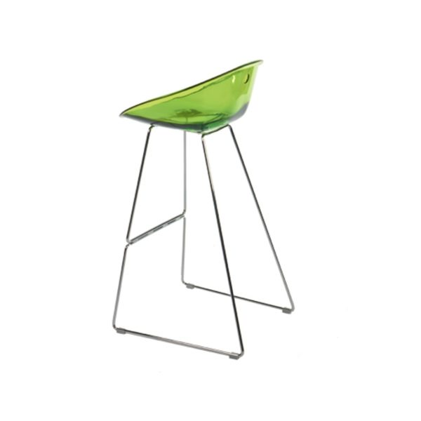Gliss Bar Stool 906 Lime Green Sled Base Pedrali at DeFrae Contract Furniture
