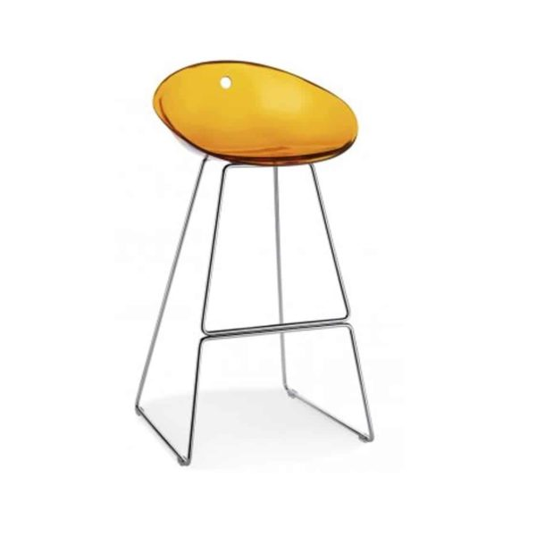 Gliss Bar Stool 906 Yellow Translucent Sled Base Pedrali at DeFrae Contract Furniture