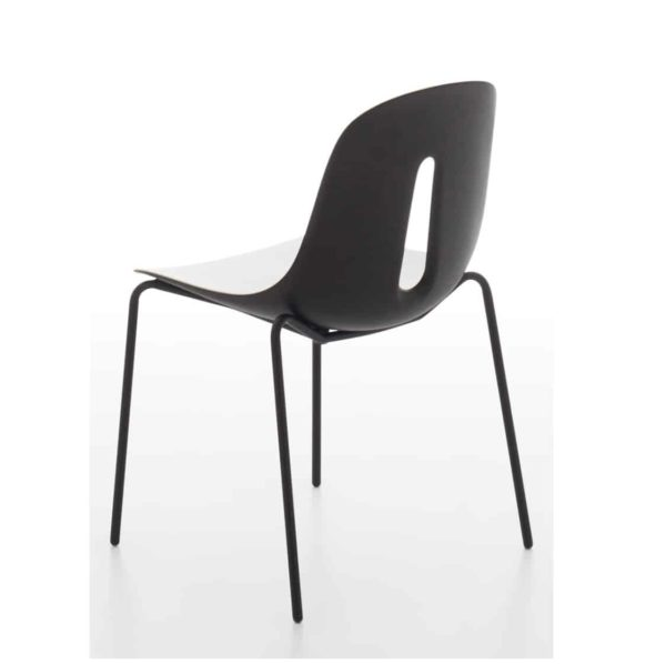 Gothan Steel Side Chair DeFrae Contract Furniture Black and White