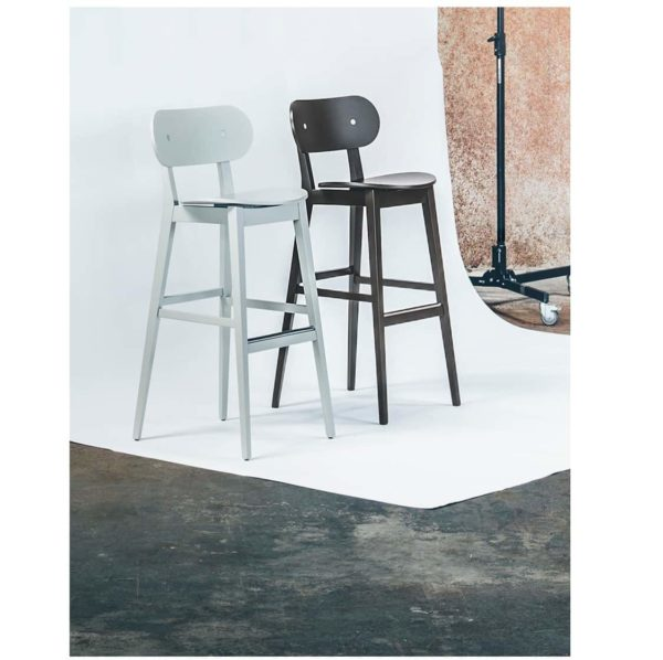 Grady Bar Stool Gradisca Billiani Wooden DeFrae Contract Furniture Black and White