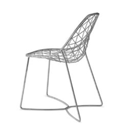 Gumdrop Chair Wire Outdoor chair DeFrae Contract Furniture Chrome Back View