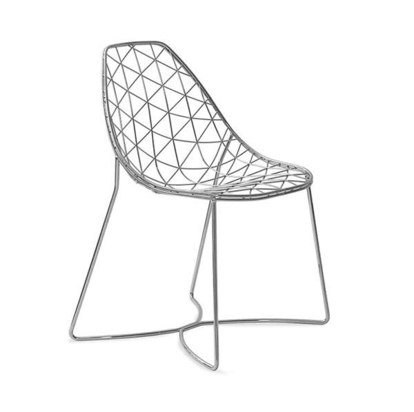 Gumdrop Chair Wire Outdoor chair DeFrae Contract Furniture Natural Steel