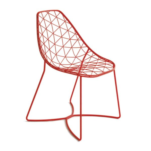 Gumdrop Chair Wire Outdoor chair DeFrae Contract Furniture Red