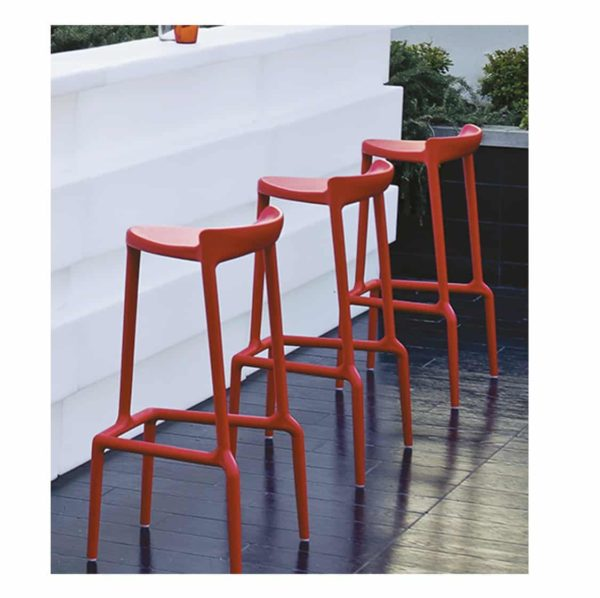 Happy Bar Stool Pedrali at DeFrae Contract Furniture Red In Situ