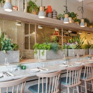 Restaurant furniture by DeFrae Contract Furniture at Lorne Restaurant London.