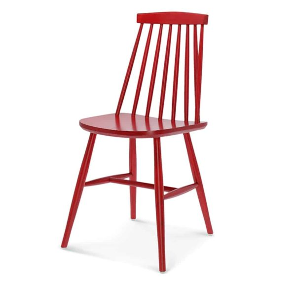 Henry Side Chair Spindle Back Wood Chair Cottage DeFrae Contract Furniture Red