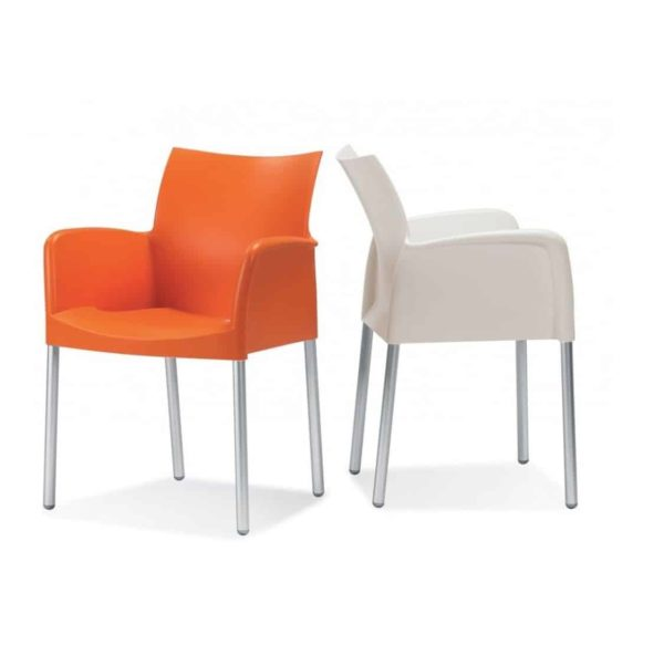 Ice Armchair Pedrali at DeFrae Contract Furniture Orange and White