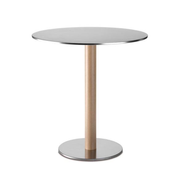 Inox Oak Veneer Tablebase Pedrali at DeFrae Contract Furniture
