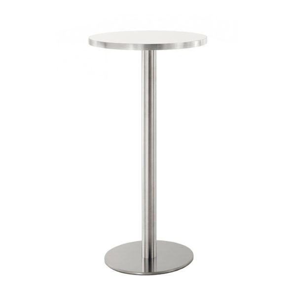 Inox Round Table Base Poseur Height