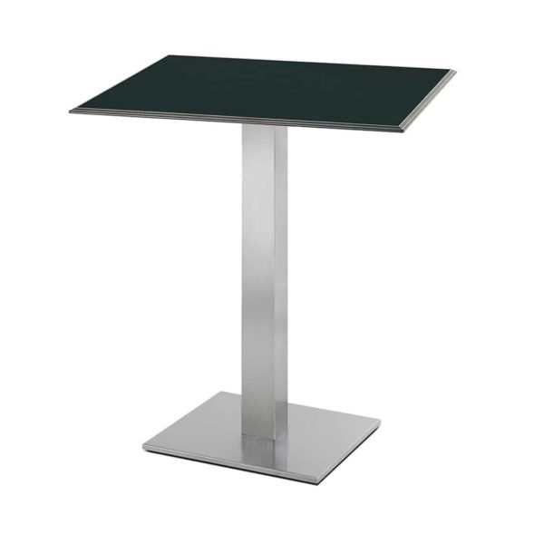 Inox Square Table Base 4411 Pedrali at DeFrae Contract Furniture Black Laminate Top