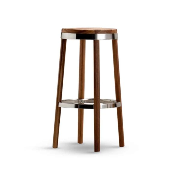 Jacob Bar Stool Wooden frame with metal footrest
