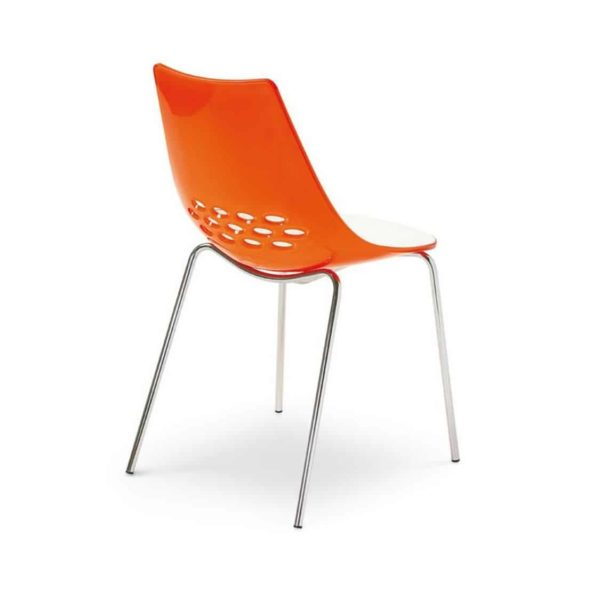 Jam Chair 4 Leg Metal Frame Connubia by Calligaris at DeFrae Contract Furniture Orange