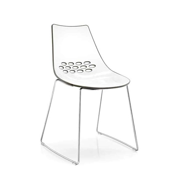 Jam Chair Sled Base Metal Frame Connubia by Calligaris at DeFrae Contract Furniture